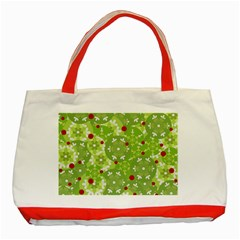 Green Christmas decor Classic Tote Bag (Red)