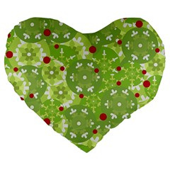 Green Christmas decor Large 19  Premium Heart Shape Cushions