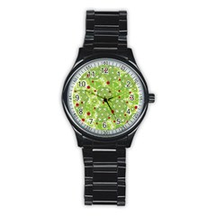 Green Christmas decor Stainless Steel Round Watch