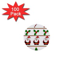 Christmas pattern 1  Mini Buttons (100 pack)