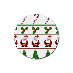 Christmas Pattern Rubber Round Coaster (4 Pack)