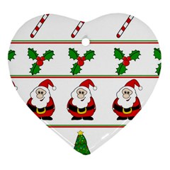 Christmas pattern Heart Ornament (2 Sides)