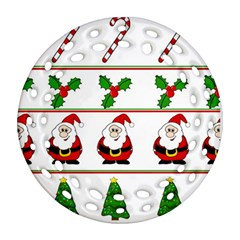 Christmas pattern Ornament (Round Filigree)