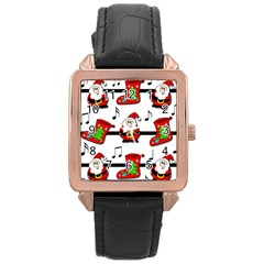 Christmas song Rose Gold Leather Watch