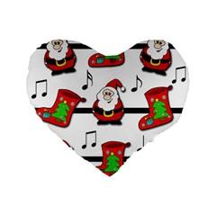 Christmas song Standard 16  Premium Flano Heart Shape Cushions