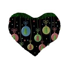 Christmas balls - pastel Standard 16  Premium Heart Shape Cushions
