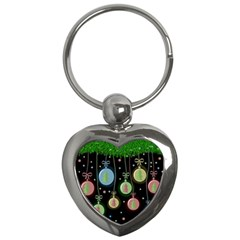 Christmas balls - pastel Key Chains (Heart)