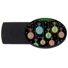 Christmas balls - pastel USB Flash Drive Oval (4 GB)