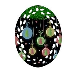 Christmas balls - pastel Oval Filigree Ornament (2-Side)