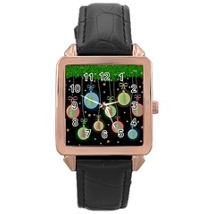 Christmas balls - pastel Rose Gold Leather Watch