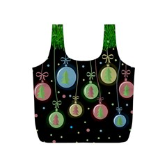 Christmas balls - pastel Full Print Recycle Bags (S)