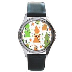 Christmas design - green and orange Round Metal Watch