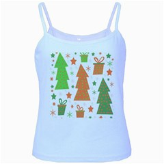 Christmas design - green and orange Baby Blue Spaghetti Tank