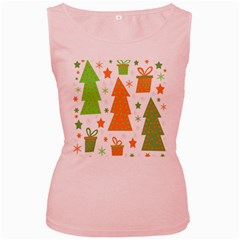 Christmas design - green and orange Women s Pink Tank Top