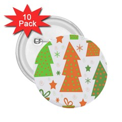 Christmas design - green and orange 2.25  Buttons (10 pack)