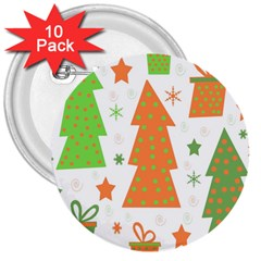 Christmas design - green and orange 3  Buttons (10 pack)