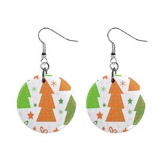Christmas design - green and orange Mini Button Earrings