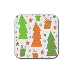Christmas design - green and orange Rubber Coaster (Square)