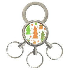 Christmas design - green and orange 3-Ring Key Chains