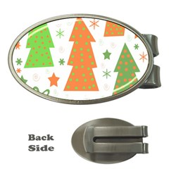 Christmas design - green and orange Money Clips (Oval)