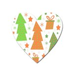Christmas design - green and orange Heart Magnet Front