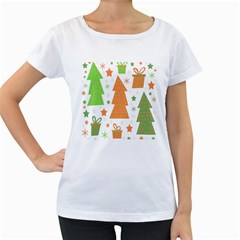Christmas design - green and orange Women s Loose-Fit T-Shirt (White)