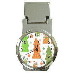 Christmas design - green and orange Money Clip Watches