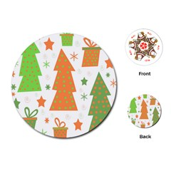 Christmas design - green and orange Playing Cards (Round)