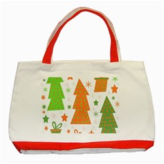 Christmas design - green and orange Classic Tote Bag (Red)
