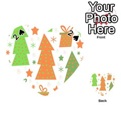 Christmas design - green and orange Playing Cards 54 (Heart)