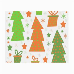 Christmas design - green and orange Small Glasses Cloth (2-Side)