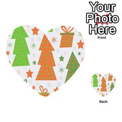 Christmas design - green and orange Multi-purpose Cards (Heart)