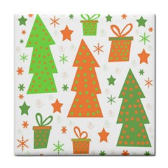 Christmas design - green and orange Face Towel