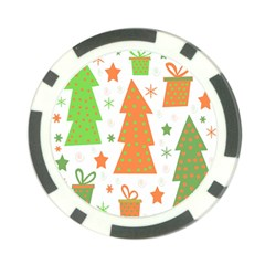 Christmas design - green and orange Poker Chip Card Guards (10 pack)