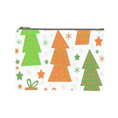 Christmas design - green and orange Cosmetic Bag (Large)