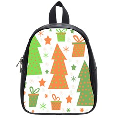 Christmas design - green and orange School Bags (Small)