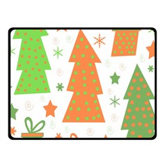 Christmas design - green and orange Fleece Blanket (Small)