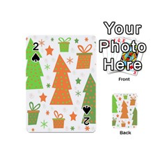 Christmas design - green and orange Playing Cards 54 (Mini)