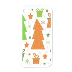 Christmas design - green and orange Apple iPhone 4 Case (White)