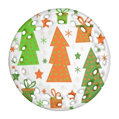 Christmas design - green and orange Round Filigree Ornament (2Side)