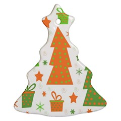 Christmas design - green and orange Christmas Tree Ornament (2 Sides)