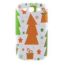 Christmas design - green and orange Samsung Galaxy S III Hardshell Case