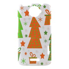 Christmas design - green and orange HTC One X Hardshell Case