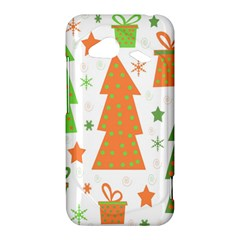Christmas design - green and orange HTC Droid Incredible 4G LTE Hardshell Case