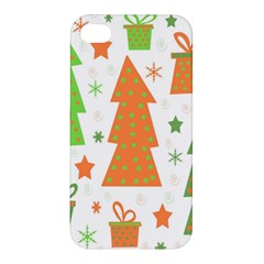 Christmas design - green and orange Apple iPhone 4/4S Premium Hardshell Case