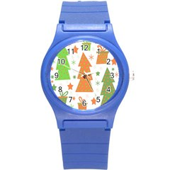 Christmas design - green and orange Round Plastic Sport Watch (S)