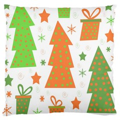 Christmas design - green and orange Large Cushion Case (Two Sides)
