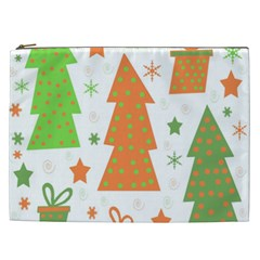 Christmas design - green and orange Cosmetic Bag (XXL)