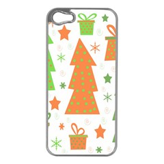 Christmas design - green and orange Apple iPhone 5 Case (Silver)