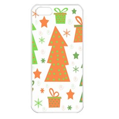 Christmas design - green and orange Apple iPhone 5 Seamless Case (White)